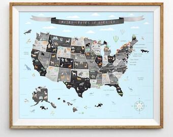 USA map, US chalk map, Map wall art, Map nursery art, States wall art, Map of America, United States map, Educational poster, USA poster