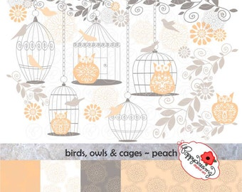 Birds Owls & Cages Peach Paper and Elements SET: Digital Scrapbook Paper Pack (300 dpi) Wedding Baby Shower Floral Peach Grey Gray