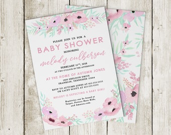 Baby Shower Invitation, Pink Floral Baby Shower Invitation, Printed or Printable Options