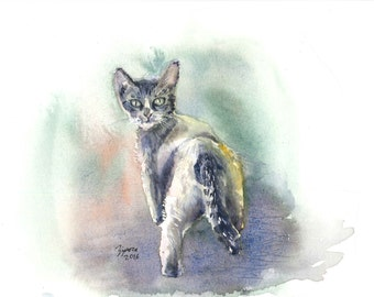 Cat. Original 18X24 cm watercolor painting. Home decor, office decor.