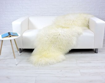 "Genuine curly cream white Icelandic double sheepskin rug | large & luxurious | ""Mongolian style"" decorative rug, sofa cover, throw 