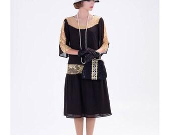 Great Gatsby dress in black and gold, 1920s dress, flapper costume, 1920s halloween costume, Charleston dress, Downton Abbey dress,