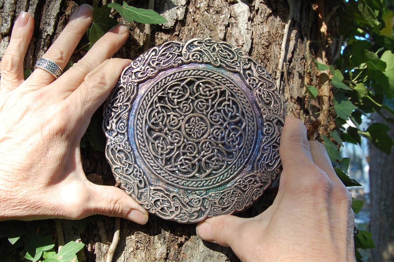 Celtic Knot Mandala Stone Sculpture Irish Art Garden