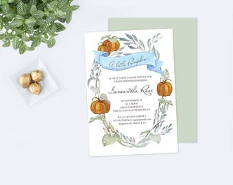 Editable Text Baby Shower Invite, Fall Greenery Baby Shower Invite, LITTLE PUMPKIN Baby Shower Invitations, Pumpkin Baby Shower, Pumpkin