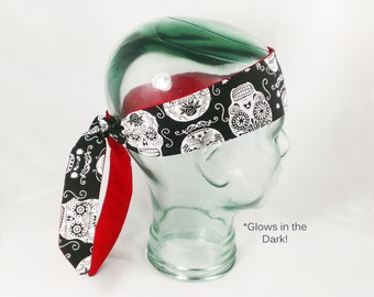 Glow in the Dark Headwrap Sugar Skull Day of the Dead adult knot headband phosphorescent kids halloween gifts goth gothic hair accessory usa