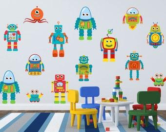 Robot Wall Decal - Robot Wall Art - Boys Room Wall Decals - Boy Room Wall Art