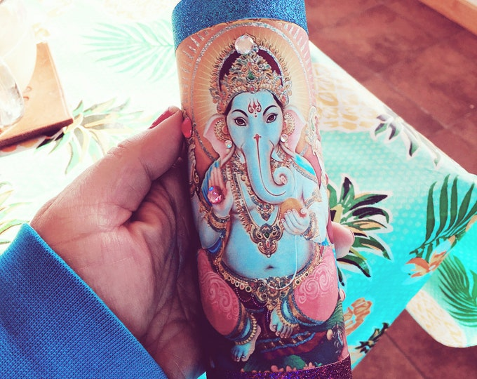 Ganesh Remover of Obstacles   7 day candle for Prosperity, Wisdom, Spirituality   Cleansed, Charged, Consecrated   Loaded Fixed Candle