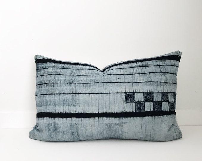 Hmong Textile Pillow Cover Vintage, Ethnic, Hand Woven, Hemp, Indigo
