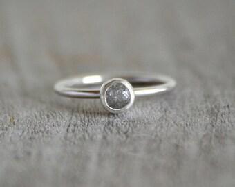 Raw Diamond Engagement Ring, Gray Diamond Ring, 0.6ct Rough Diamond Ring, Handmade In England