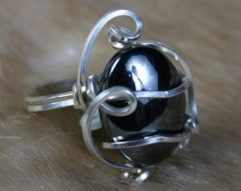 Hematite Wire Wrapped Ring in 92.5 SS
