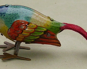 1930's tin plate wind-up Pecking Bird toy German DRGM clockwork tin toy