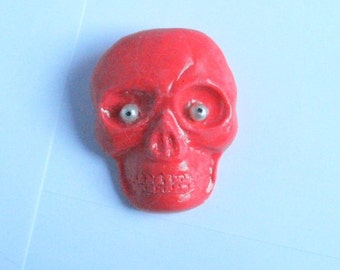Hot Pink Clay Skull Pin