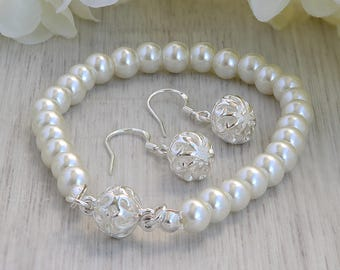 Hochzeit Armband für Braut - Brautschmuck Set Silber - Braut-Armband - Hochzeit Armband Perlen - Armband für Braut - Brautschmuck