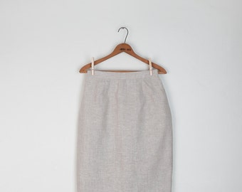 SALE! Vintage Natural Linen Pencil Skirt / Harve Benard / Minimalist / S size 6