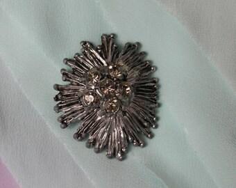 Vintage Chrysanthemum Silvertone and Rhinestone Brooch, Starburst Brooch, Midcentury Brooch