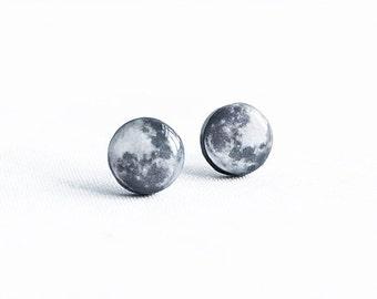 Full moon earrings studs, astronomy jewelry full moon stud earrings gifts under 20