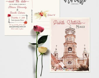 Mexico Puerto Vallarta save the date postcards with illustration -  Deposit Payment