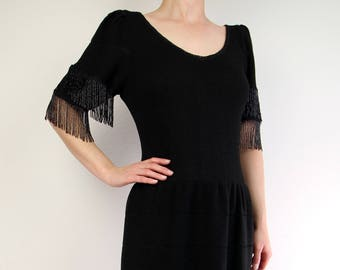 VINTAGE Dress Black Knit Dress Beaded Fringe 1970s Small