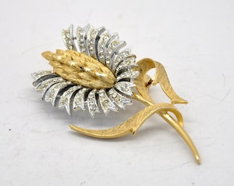 Vintage Abstract Gold and Silver Tone Flower Brooch
