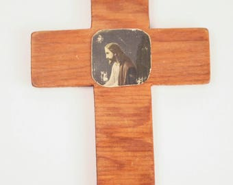 70's Christian WALL HANGING  // Wooden Cross with Jesus Christ Decall