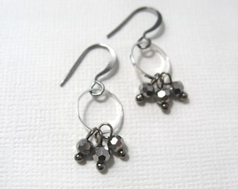 CLEARANCE SALE: Galaxies earrings - gunmetal and silver tone metal with faceted Czech glass smoked silver bead earrings
