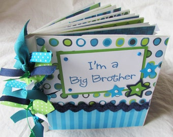 Mini premade 6x6 Scrapbook Album -- I'M A BIG BROTHER -- PaPeR BaG Scrapbook Album - new styles added, see listing! Little sister or brother