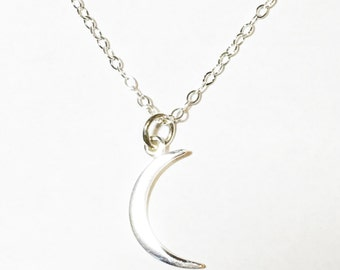 Crescent moon charm,necklace sterling silver, half moon pendant, moon necklace, moon charm