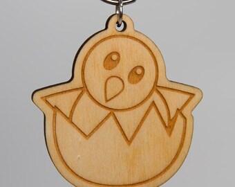 Hatching Chick Emoji Keychain - Baby Chicken Emoji Carved Wood Key Ring - Hatching Baby Chick Emoji