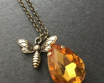 Bee necklace, amber crystal with bronze bee charm