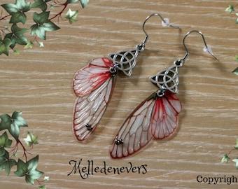 boucles d'oreilles libellule fée ailes acier chirurgical celtique celtic earrings stainless steal wings fairy