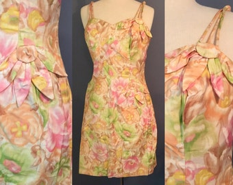 Vintage 50s Hawaiian-style sarong dress, by Alix of Miami. Womens beach wear dress.