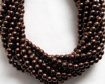 Lot of 100 4mm metallic Dark Bronze Czech glass druk beads, brown smooth round druks, C40101