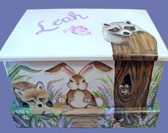Custom Forest Friends  Keepsake Box or Treasure chest
