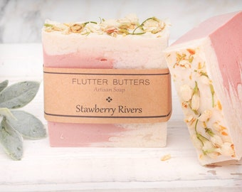 Strawberry Cold Process Soap, Handmade Soap, Shea Butter Avocado Soap, Wedding Favors, Beautiful Soap, Artisian Soap, Vegan Soap, Gift Idea