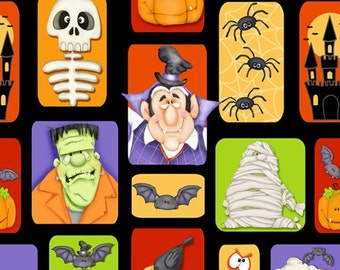 The Count Halloween Blocks ~ Henry Glass Cotton Woven fabric by the yard sewing quilting