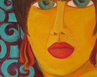 Original acrylic painting of a spanish woman with haunting blue eyes