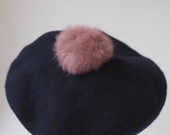 Dusty Pink Pom Pom Beret