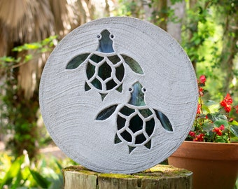 """Baby Sea Turtle Hatchlings Stained Glass Stepping Stone 18"""" Diameter #799"""