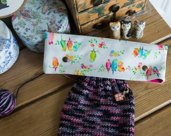 DPN holder, cosy or case for 8 inch dpns made with Kokka Japan cotton in a pretty budgies print, with metal press studs