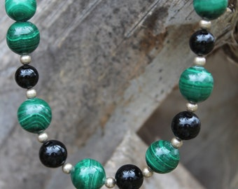 Sterling Silver Malachite and Onyx Necklace with matching earrings