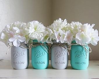 Boy Baby Shower Decor, Baby Shower Centerpieces, Mason Jar Centerpieces, Mason Jar Decor, Painted Mason Jars, Baby Boy Shower Decor, Table