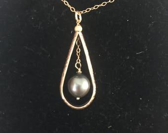 Tahitian 14k gold filled drop pendant