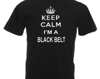 Black Belt Karate Adults Mens Black T Shirt Sizes From Small - 3XL