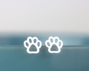 Petite Paw Print Stud Earrings, Sterling silver dog paw print, Paw print earrings, Canine paw print, Dog lover
