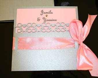 Silver light pink or Black Lace wedding invitation