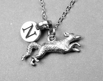 Running Fox Necklace, Fox Necklace, Fox charm, personalized jewelry, initial necklace, monogrammed letter, antiqued, silver fox, pewter