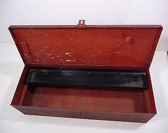 Vintage Tool Box - Heavy Duty Red Tool Box Chest Side Handles Tray Inside Industrial