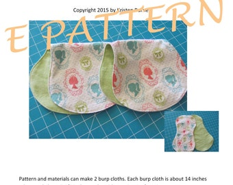 Perfect Quick & Simple PDF Pattern to Create the Most Adorable Baby Burp Cloths! Great Baby Gifts! Use Soft Flannel Cute Baby Prints