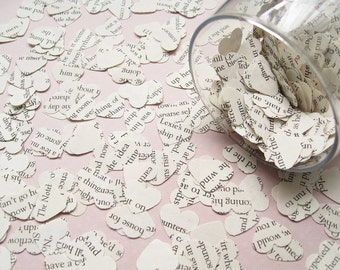 Shakespeare Heart Novel Book Confetti - Choose from amounts of 200 to 2000 - Wedding Table Decoration Paper Hearts