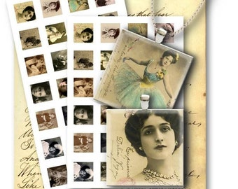Old Photography 1 inch square - Digital Collage Sheet Download